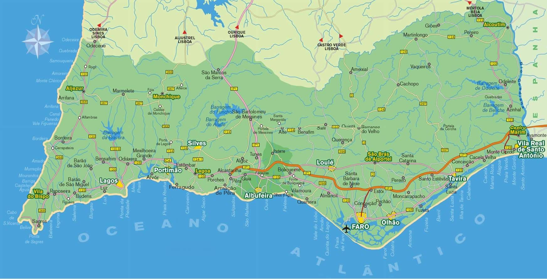 Algarve Maps Portugal Neils Travel Web - Portugal map west coast